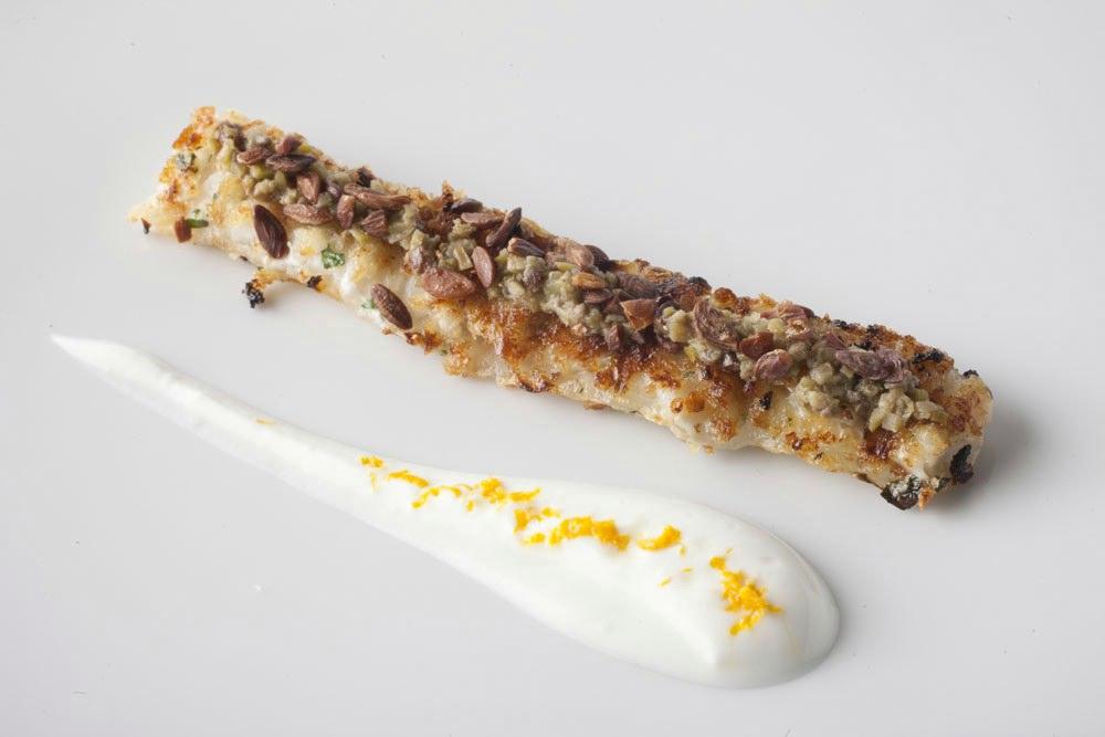"""Corona"" of turbot and orange flavoured tzatziki sauce"